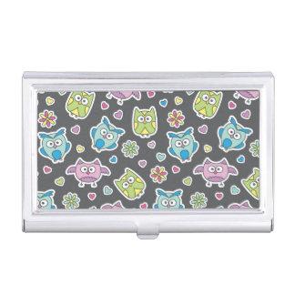 pattern of cartoon owls business card holder