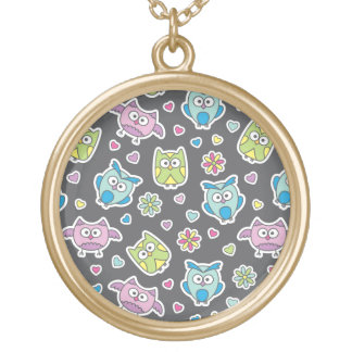 pattern of cartoon owls gold plated necklace