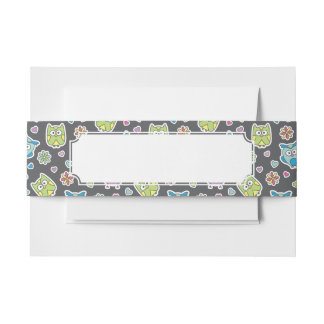 pattern of cartoon owls invitation belly band