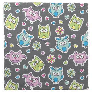 pattern of cartoon owls napkin