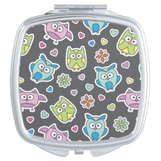 pattern of cartoon owls vanity mirror