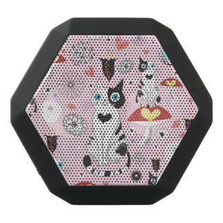 pattern of cats and flowers black bluetooth speaker
