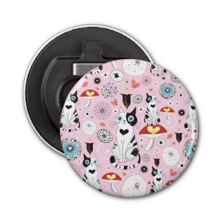 pattern of cats and flowers bottle opener
