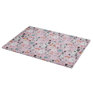 pattern of cats and flowers cutting board