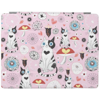 pattern of cats and flowers iPad cover