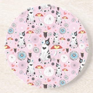 pattern of cats and flowers sandstone coaster