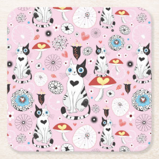pattern of cats and flowers square paper coaster