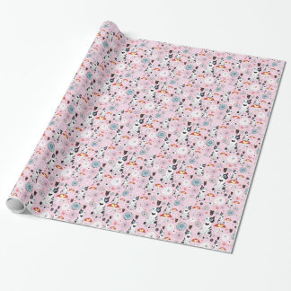 pattern of cats and flowers wrapping paper