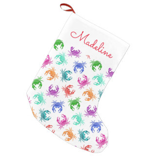 Pattern Of Crabs | Add Your Name Small Christmas Stocking