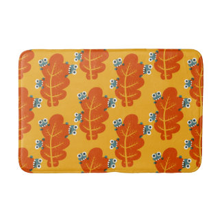 Pattern of Cute Bugs Eating Autumn Leaves Bath Mats