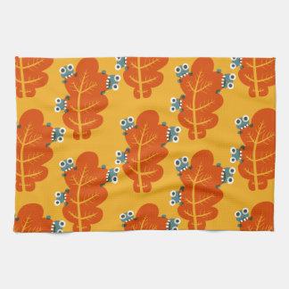 Pattern of Cute Bugs Eating Autumn Leaves Tea Towel