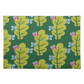 Pattern of Cute Bugs Eating Green Leaves Placemats