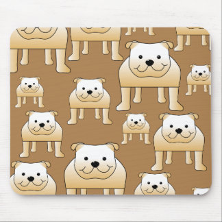 Pattern of Fawn English Bulldogs on Brown. Mouse Pad