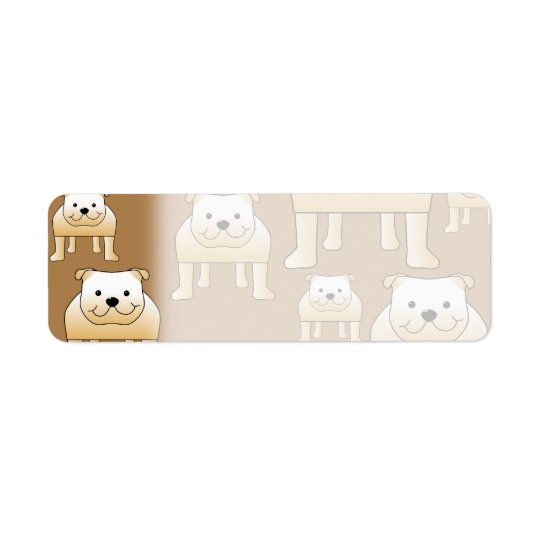 Pattern of Fawn English Bulldogs on Brown. Return Address Label