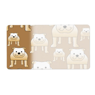 Pattern of Fawn English Bulldogs on Brown. Shipping Label