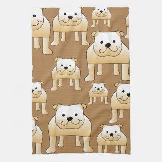 Pattern of Fawn English Bulldogs on Brown. Tea Towel