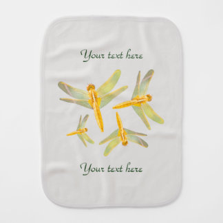 Pattern of Gold Colored Dragonflies Burp Cloth