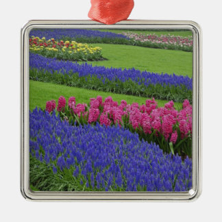 Pattern of Grape Hyacinth, tulips, and Christmas Ornament