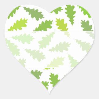 Pattern of Green Leaves. Heart Sticker