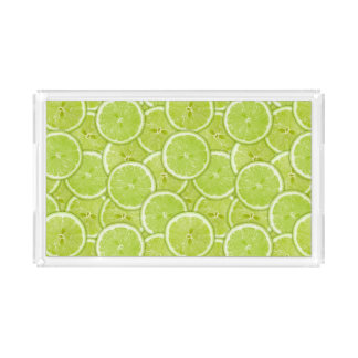 Pattern Of Green Lime Slices Acrylic Tray