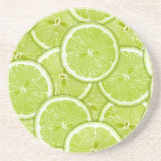 Pattern Of Green Lime Slices Beverage Coasters