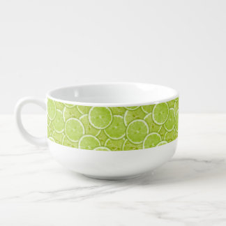Pattern Of Green Lime Slices Soup Bowl With Handle