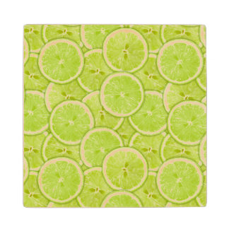 Pattern Of Green Lime Slices Wood Coaster
