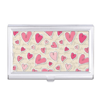Pattern of Hearts Business Card Holder