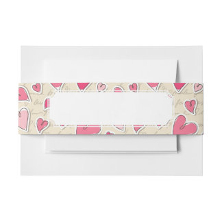 Pattern of Hearts Invitation Belly Band