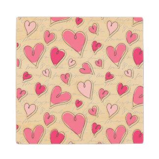 Pattern of Hearts Wood Coaster