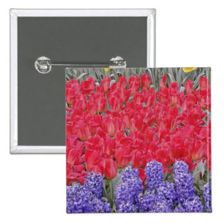 Pattern of hyacinth, tulips, and daffodils, 15 cm square badge