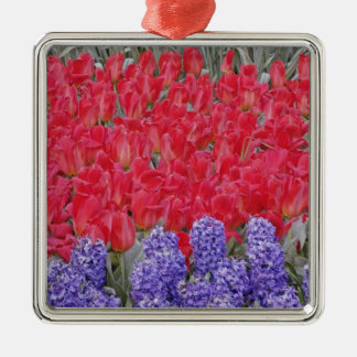 Pattern of hyacinth, tulips, and daffodils, christmas ornament