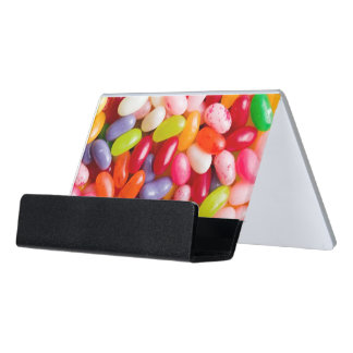 Pattern of jelly beans desk business card holder