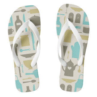 Pattern Of Kitchen Tools Flip Flops