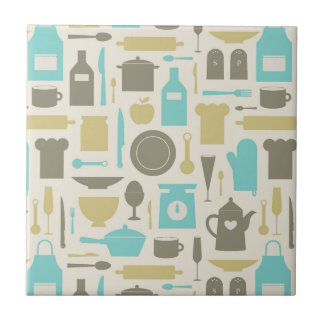 Pattern Of Kitchen Tools Small Square Tile