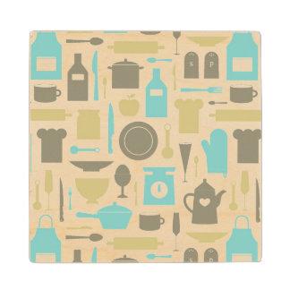 Pattern Of Kitchen Tools Wood Coaster