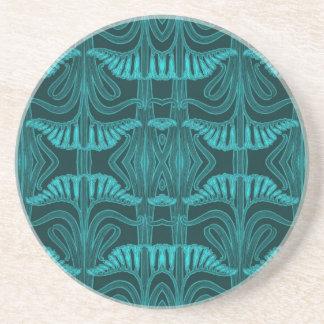 Pattern of Lilies in Aqua Drink Coasters