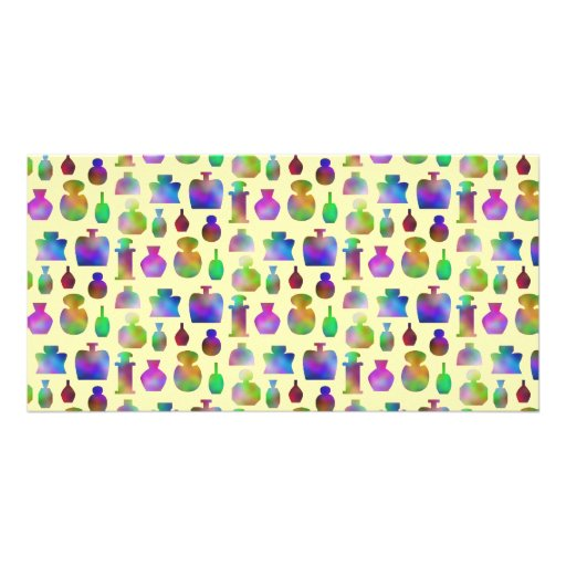 Pattern of Many Colorful Perfume Bottles. Photo Cards