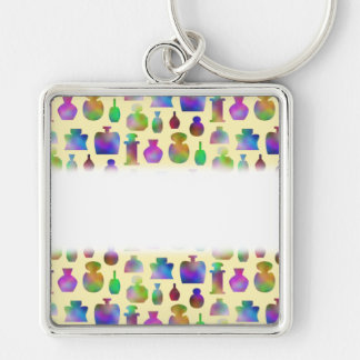 Pattern of Many Colorful Perfume Bottles. Silver-Colored Square Key Ring