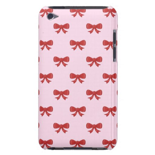 Pattern of nice red bows on pretty pink background Case-Mate iPod touch case
