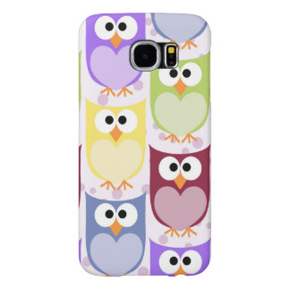 Pattern Of Owls, Colorful Owls - Green Blue Purple Samsung Galaxy S6 Cases