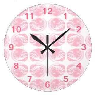 Pattern of Pastel Pink Shells. Large Clock