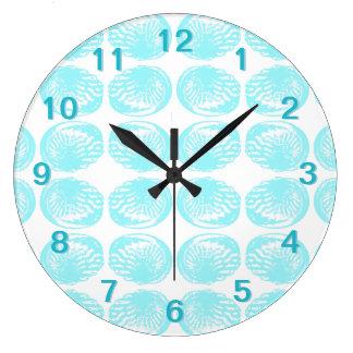 Pattern of Pastel Turquoise Shells. Large Clock