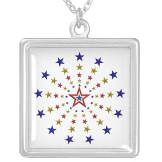 Pattern of Patriotic Stars Silver Plated Necklace