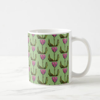 Pattern of purple tulips with green background mug