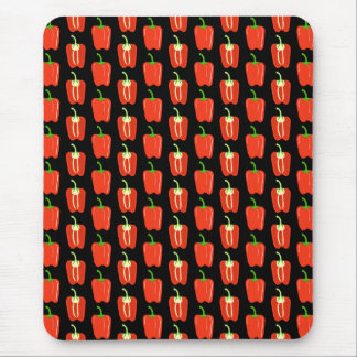 Pattern of Red Peppers, on Black. Mouse Pad