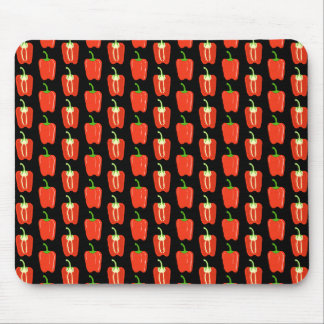 Pattern of Red Peppers, on Black. Mouse Pads