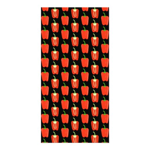 Pattern of Red Peppers, on Black. Photo Greeting Card