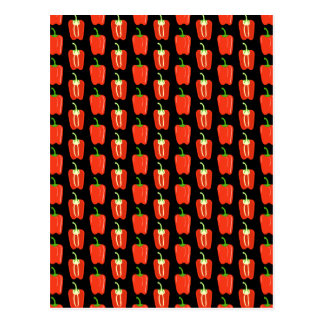 Pattern of Red Peppers, on Black. Postcard