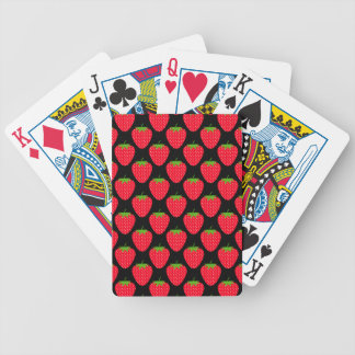 Pattern of Red Strawberries on Black Bicycle Playing Cards